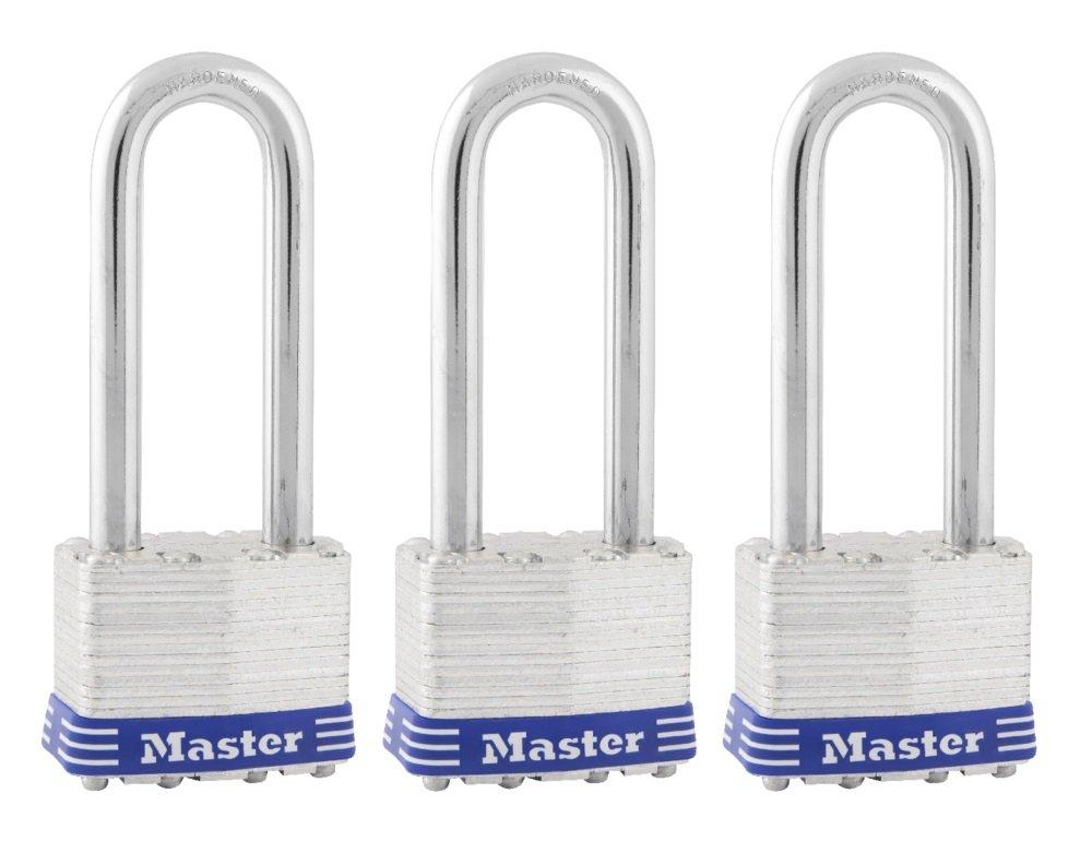 Master Lock Padlock, Laminated Steel Lock, 1-3/4 in. Wide, 1TRILJ (Pack of 3-Keyed Alike)