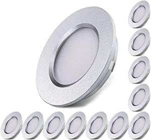 ALOVECO LED RV Boat Ceiling Light 12V LED Recessed Cabinet Lights Waterproof Ultra-Thin LED Interior Lighting for Motorhome Sailboat Yacht 3000K Warm White(12 Pack)