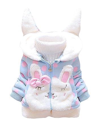 1b52d745e Garsumiss Baby Girls Coat Winter Warm Hooded Fleece Jacket Rabbit ...