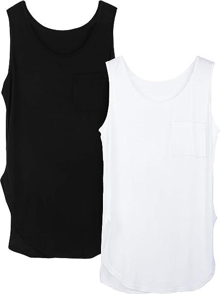 2 Piezas Camisetas Tirantes Mujer Ranuras Laterales Sueltas Camisetas sin Mangas Yoga con Bolsillo para Clase Baile Deportivo Desgaste Diario