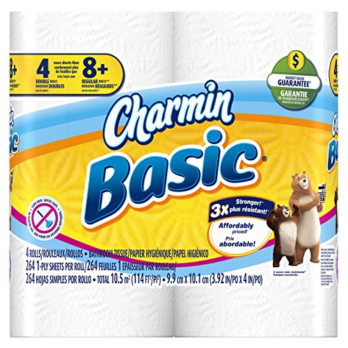 Charmin Basic Toilet Paper 40 Double Roll (10 Packs of 4 Double Rolls)
