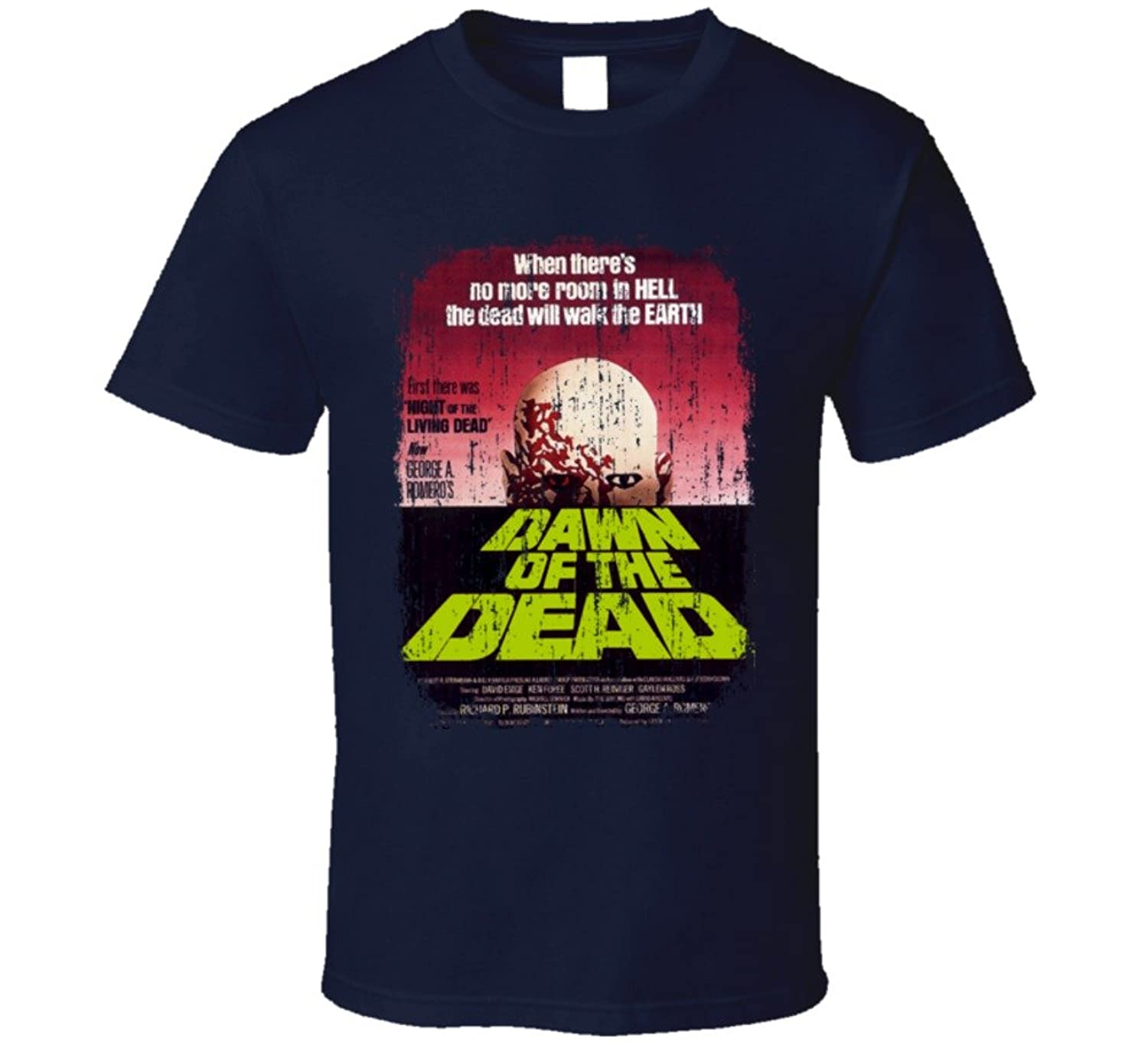 Cheap Dawn of the Dead 70's Classic Movie Vintage Poster Worn Look T Shirt for cheap