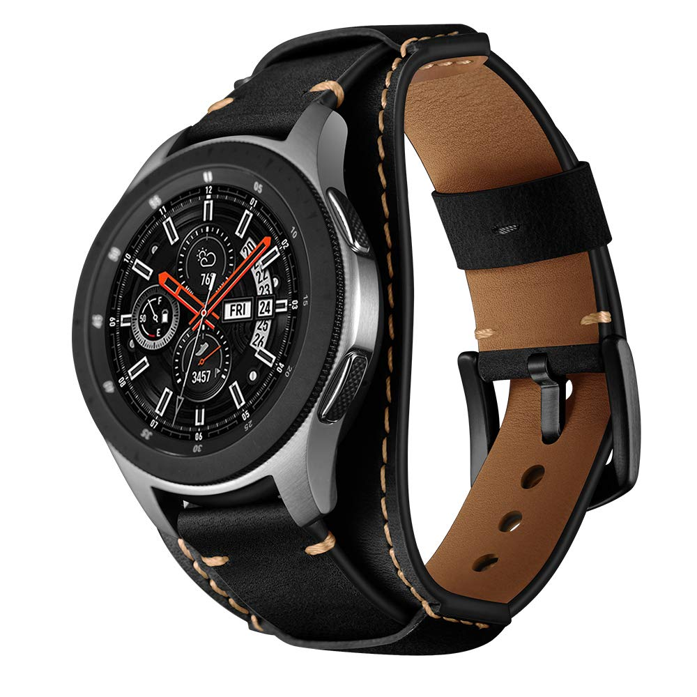 Balerion Cuff Genuine Leather Watch band Compatible with Samsung Galaxy Watch 3 45mm Galaxy Watch 46mm Gear S3 Fossil Q Explorist other Standard 22mm Lug Width Watch