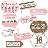 Funny Sweet 16 - 16th Birthday Party Photo Booth Props Kit - 10 Piece