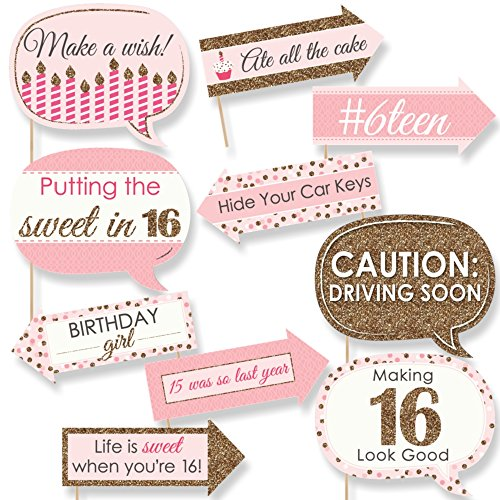 Funny Sweet 16 - 16th Birthday Party Photo Booth Props Kit - 10 (Sweet 16 Accessories)