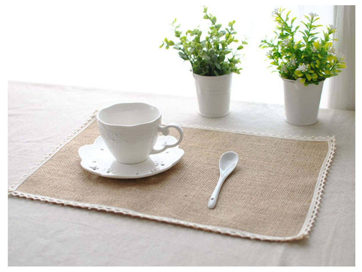 Burlap Lace Placemats, Nature Jute Woven Table Mats, Set of 8, 16  x12, Wedding Party Décor (1) 16  x12 Ma&Baby