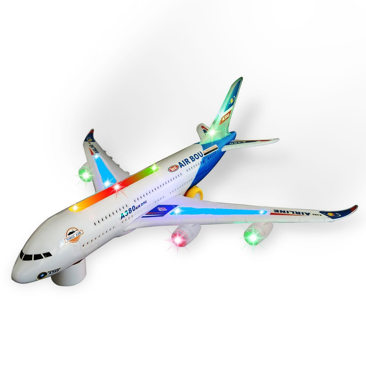 Zviku Kids airplane A380 toy plane self driving bump & go Airbus - Contains Beautiful 3D Light and Jet engine - Changes Direction On Contact - Great Gift toy for boys & girls age 2 - 8 years old