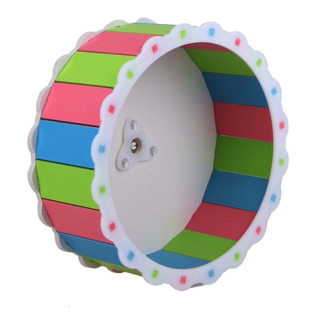 MMdex Colorful Pet  Exercise Running Wheel Toy with 7.5'' Diam for Hamster Mouse Rat Mice