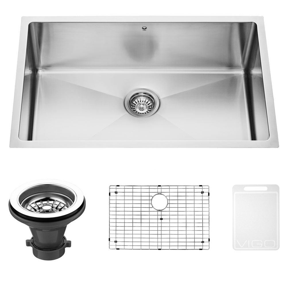 Best Gauge For Kitchen Sink Vigo vgr3019ck1 mercer 30 inch undermount stainless steel kitchen vigo vgr3019ck1 mercer 30 inch undermount stainless steel kitchen sink set with rounded corners grid and strainer 16 gauge single bowl workwithnaturefo