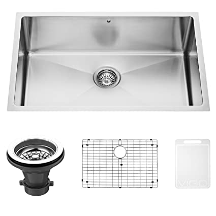 Perfect VIGO VGR3019CK1 Mercer 30 Inch Undermount Stainless Steel Kitchen Sink Set  With Rounded Corners, Grid