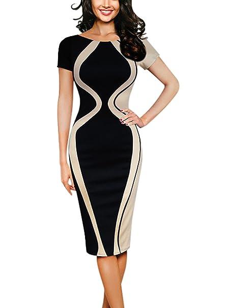 Vestidos Mujer Tallas Grandes Elegante Verano Cuello Redondo Mangas 3/4 Elásticos Skinny Fiesta Medium