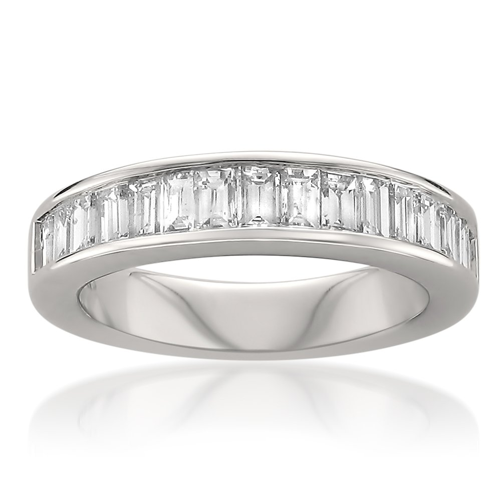 14k White Gold Baguette Diamond Bridal Wedding Band Ring (1 cttw, H-I, SI1-SI2), Size 10