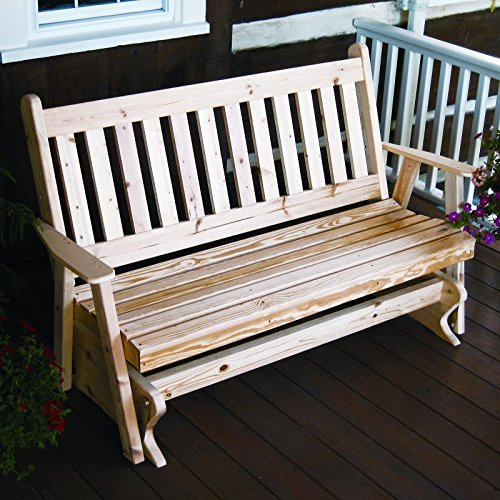 A & L Furniture Yellow Pine Traditional English Glider Bench, 4', White