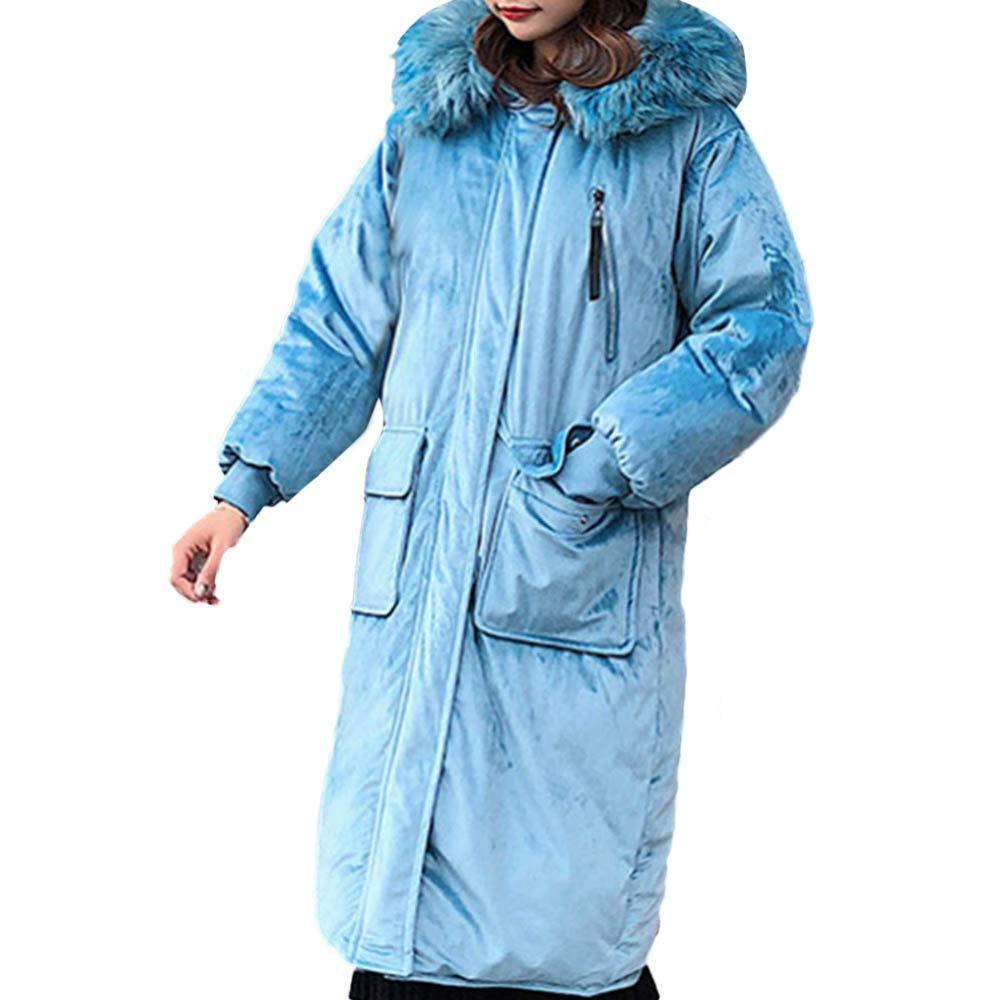 bluee Women Outerwear Jackets,Limsea Fur Hooded Button Long Solid Pocket