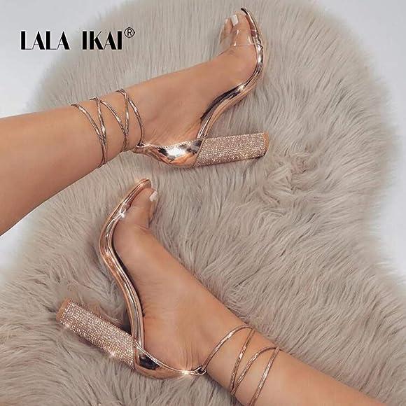 LALA IKAI Rose Gold Clear Block Heels