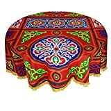 CraftiEgypt Egyptian Ramadan Decorative Colorful Red Printed Khayamiya Khayyāmiyah Pattern Cotton Polyester Tablecloth Dining Room Kitchen Round Table Cloth Cover 55 Inches