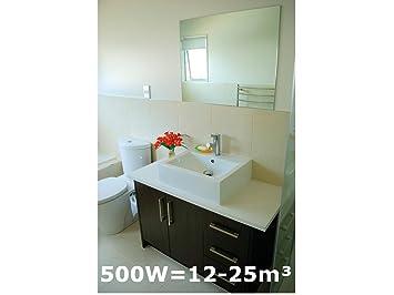 500W Spiegelheizung, Infrarotheizung fürs Bad, IPX4, 90x60cm, für ...
