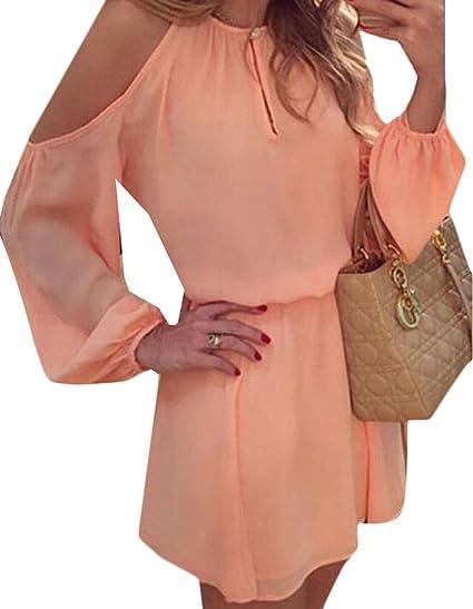 a72cfc05d85e ZSN Womens Elegant Long Sleeve Cold Shoulder Solid Mini Dress Pink US XS