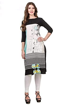 SHLOK ENTERPRISE Women s Crepe Stitched Kurta (Black   Off-White) Size   X-Large  Amazon.in  Clothing   Accessories 781a1194a7