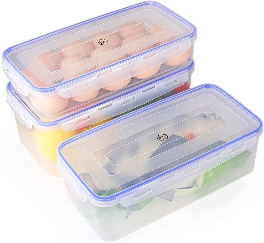 77L Food Storage Container, Plastic Food Storage Container with 3 Container and Lid, Freezer Storage Container for Kitchen and Home - Protect and Keep Fresh for Storing Fish, Meat and More (Set of 3)