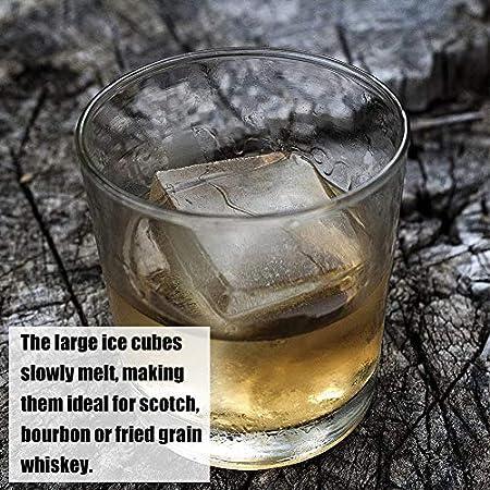 Molde de Hielo redondo, NALCY 2Pcs Whisky Ice Ball Maker, Bandejas para Hielo Silicona con Tapa, Molde Cubo Hielo, Reutilizable, Ice Mold para Congelarse Alimentos para Bebe Agua Cola Cócteles Whisky
