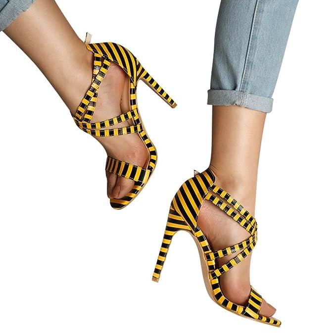 OYSOHE Damen Gestreifte Block Ankle Riemchen Schnalle Party Schuhe High Heels Sandalen