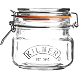 Kilner Square Glass Clip Top Jar with Airtight Rubber Seal, 0.5 Litre