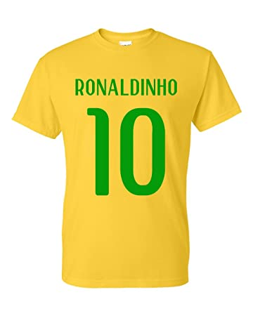 2a475e0cd48f4 Gildan Ronaldinho Brazil Hero T-shirt (yellow): Amazon.de: Sport ...