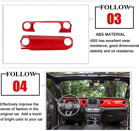 2 Pcs ABS Car Cap Cover Stickers Accessories HKPKYK Car air Conditioning Outlet Decoration,for Jeep Wrangler JL 2018+