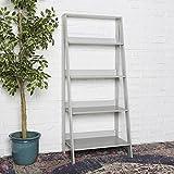 WE Furniture 55'' Wood Ladder Bookshelf - Grey