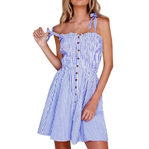 29ae0d647e Minisoya Women Casual Striped Sling Dress Sleeveless Button Bandage Off  Shoulder Beach Sundress Evening Party Cami