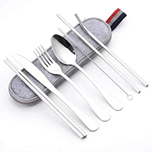 Portable Reusable Travel Utensils Silverware with Case Travel Camping Cutlery Set 8-Piece Including Knife Fork Spoon Chopsticks Cleaning Brush Straws Stainless Steel Flatware Set (Silver)