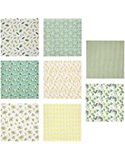 EXCEART 8 Sheets of Cotton Fabric Bundle Floral Fabric Squares Sewing Patchwork for DIY Craft Sewing Scrapbooking Quilting 50CM