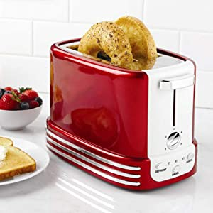 Retro 2 Slice Toaster Stainless Steel Toaster with Bagel, Cancel, Defrost Fuction And Extra Wide Slots Toasters, 5 Shade Settings,Removable Crumb Tray