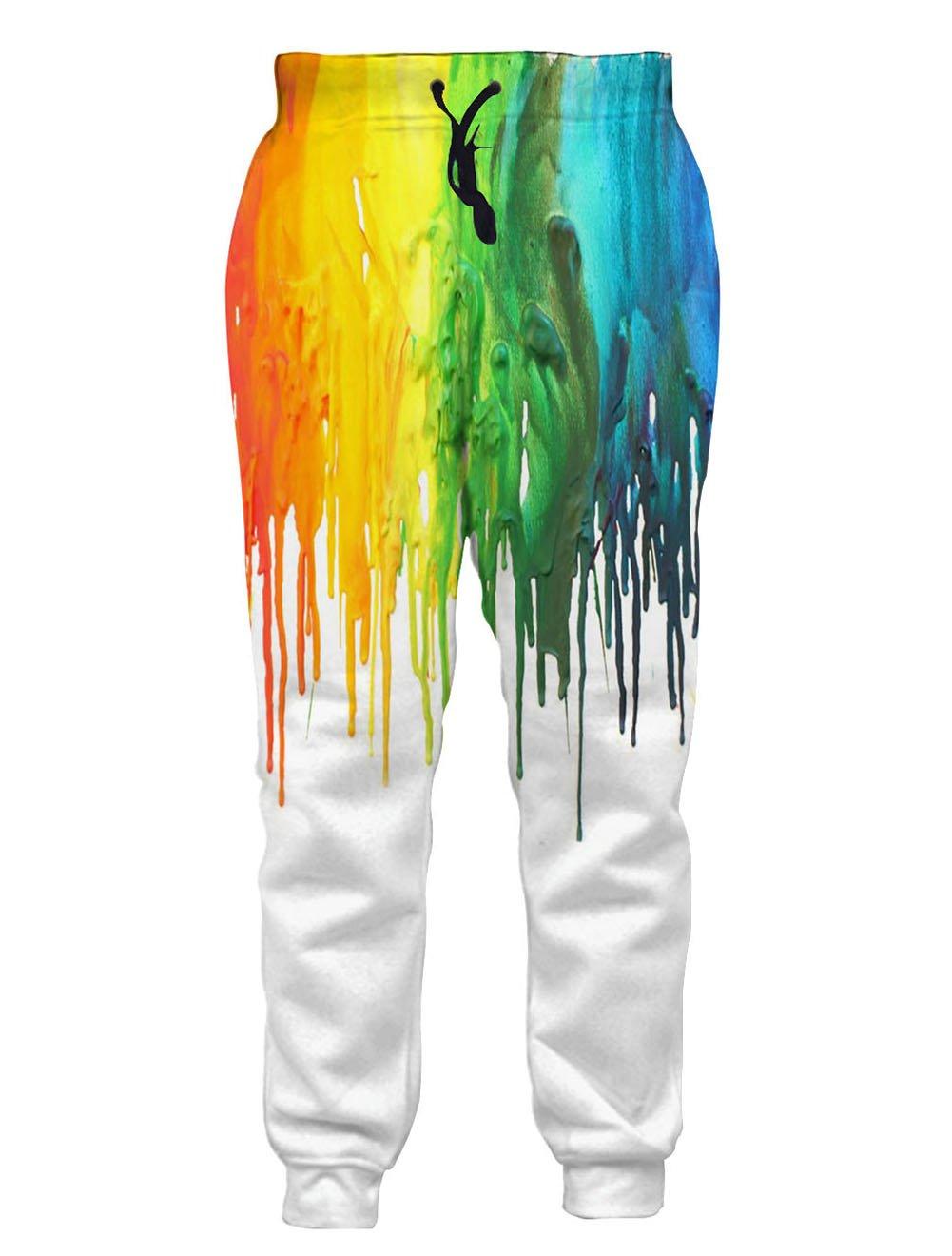 RAISEVERN Womens Melting Pattern Printed Casual Hip Hop Novelty Jogger Pants 2017 Style Melting Small