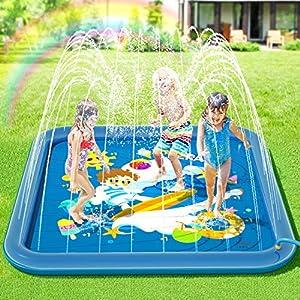 Peradix Tappetino Gioco d'Acqua per Bambini,Splash Play Mat Spruzzi all'Aperto Giochi d'Acqua Sprinkler di Festa con… 4 spesavip