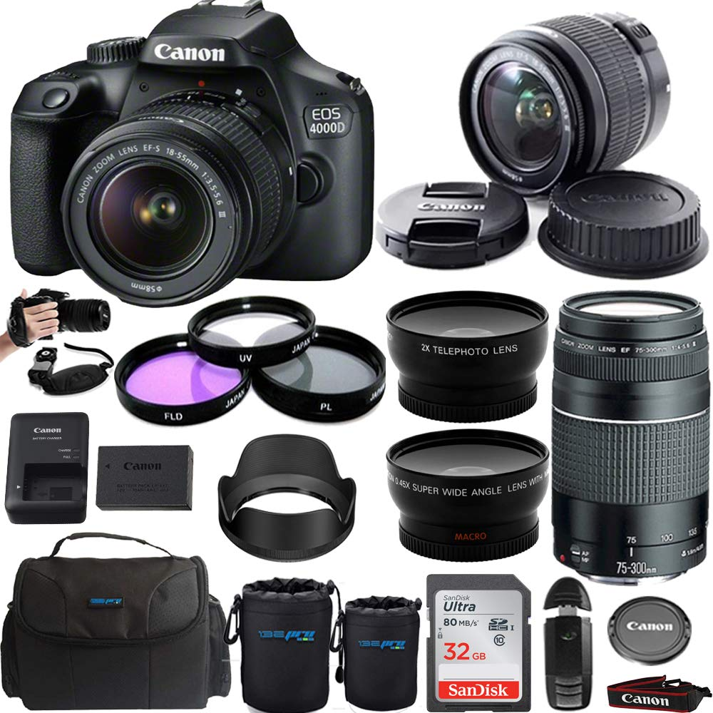 Canon EOS 4000D / T100 Digital Camera with EF-S 18-55mm f/3.5-5.6 III Lens + Canon EF 75-300mm f/4-5.6 III Telephoto Zoom Lens - Premium Bundle by Buzz-Photo