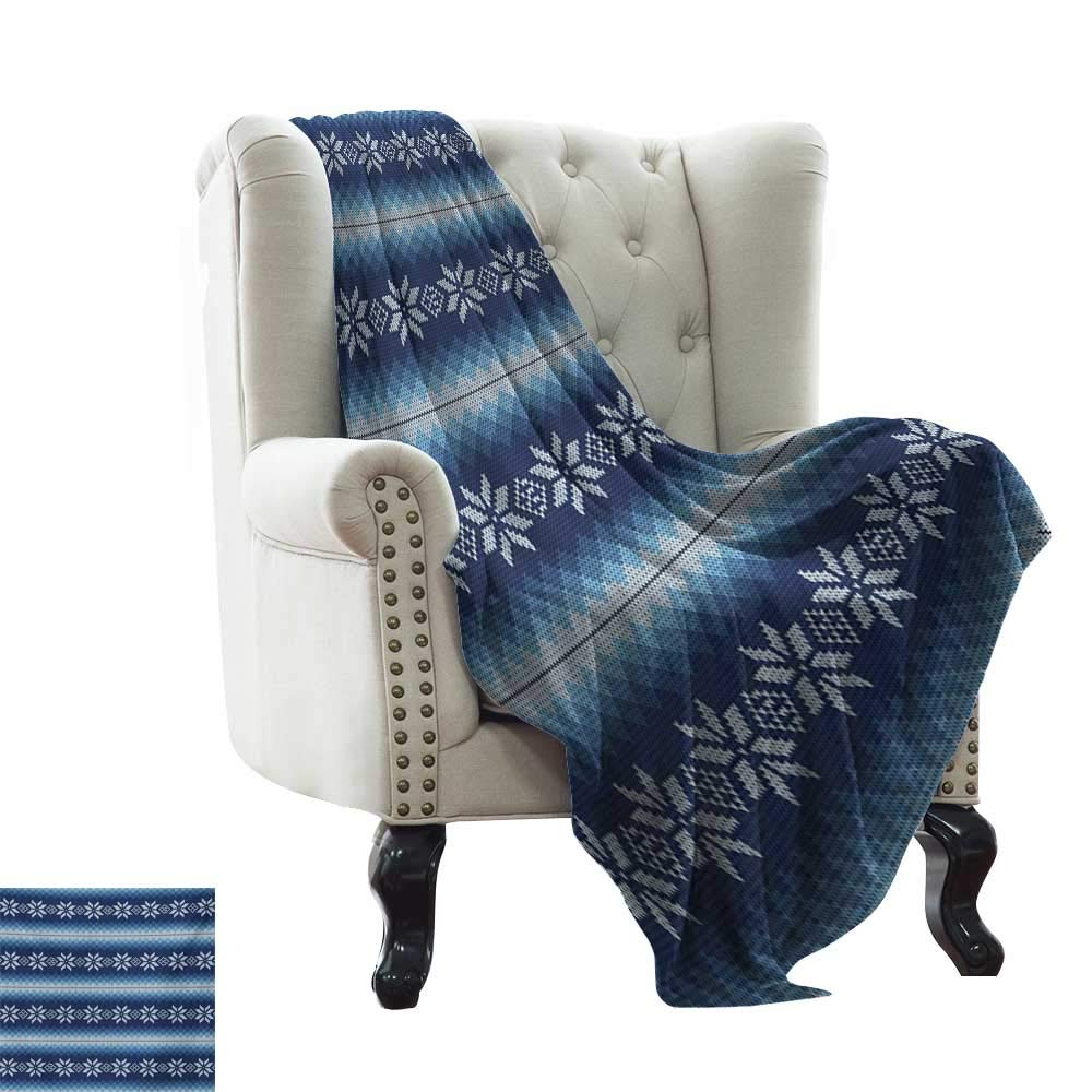 Anyangeight Winter,Digital Printing Blanket,Traditional Scandinavian Needlework Inspired Pattern Jacquard Flakes Knitting Theme 70''x60'',Super Soft and Comfortable,Suitable for Sofas,Chairs,beds