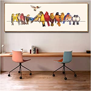Nordic Home Decor Colourful Birds on Wire Vivid Animal Poster and Prints Oil Painting on Canvas Wall Art Picture for Living Room 50x150cm(20x59 in)