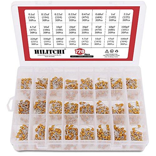 Hilitchi 720-Pcs [0.1uF-100nF] DIP Monolithic Multilayer Ceramic Chip Capacitors Assortment Kit - 24 Value