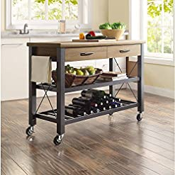 Farmhouse Kitchen Whalen Santa Fe Kitchen Cart with Metal Shelves and TV Stand Feature farmhouse kitchen islands and carts