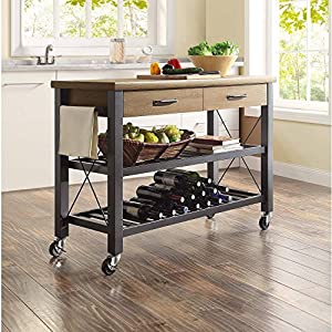 Whalen Santa Fe Kitchen Cart with Metal Shelves and TV Stand Feature