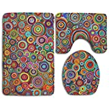 HOMESTORES Perfect Gifts - Psychedelic Trippy Art Candle Thicken Skidproof Toilet Seat U Shaped Cover Bath Mat Lid Cover