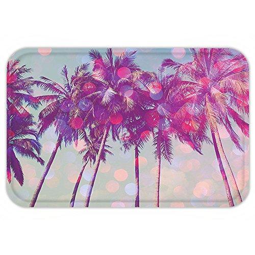 [Kisscase Custom Door MatNature Palm TreeHawaiian Tropic Seashore Beach Californian Miami SunbeamImage Fuchsia Purple Green] (The Californians Costume)
