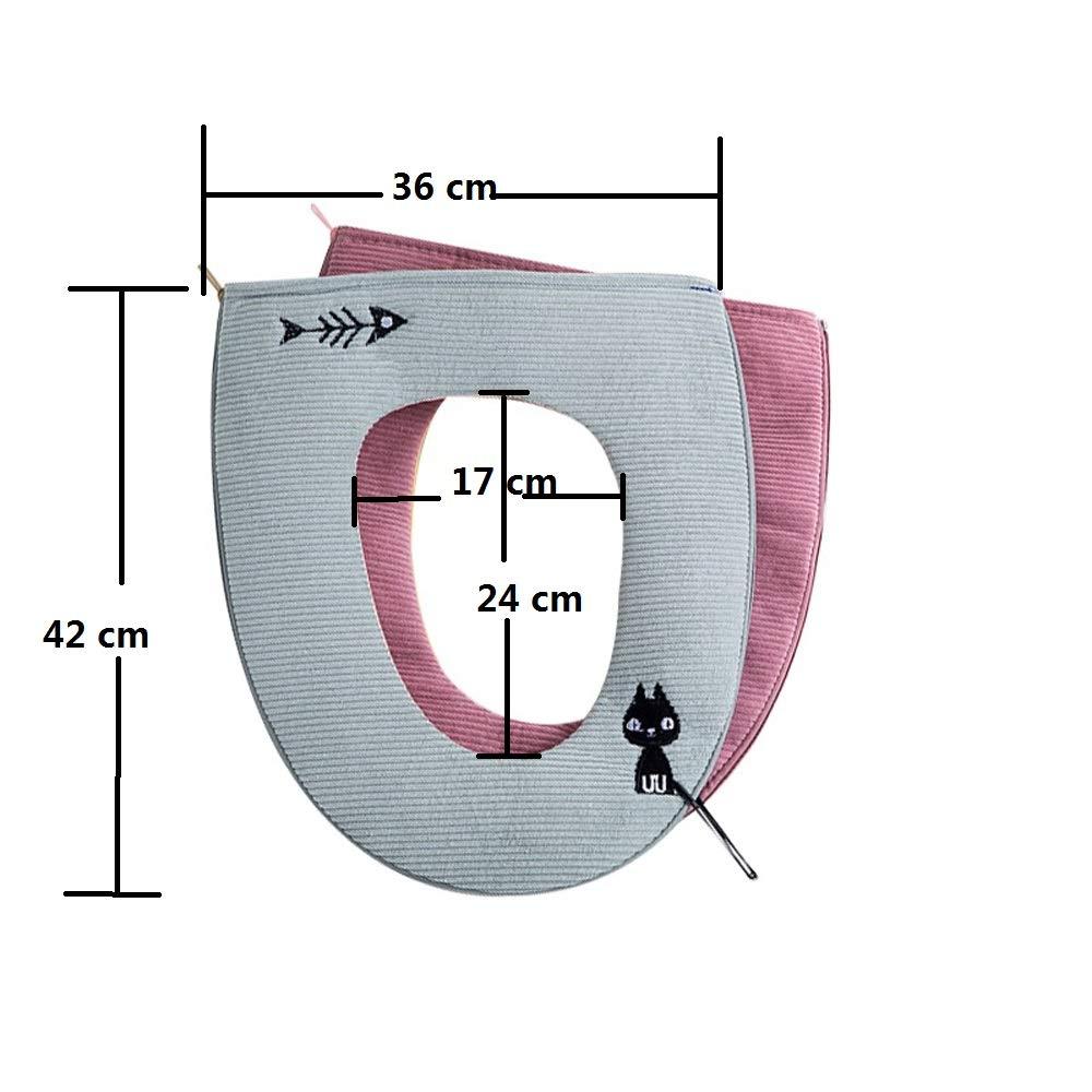 couvre si/ège de toilette couverture de si/ège de toilette Abcsea 2 pi/èces Housse de si/ège de toilette gris Housse pour abattant de WC housse de cuvette toilette