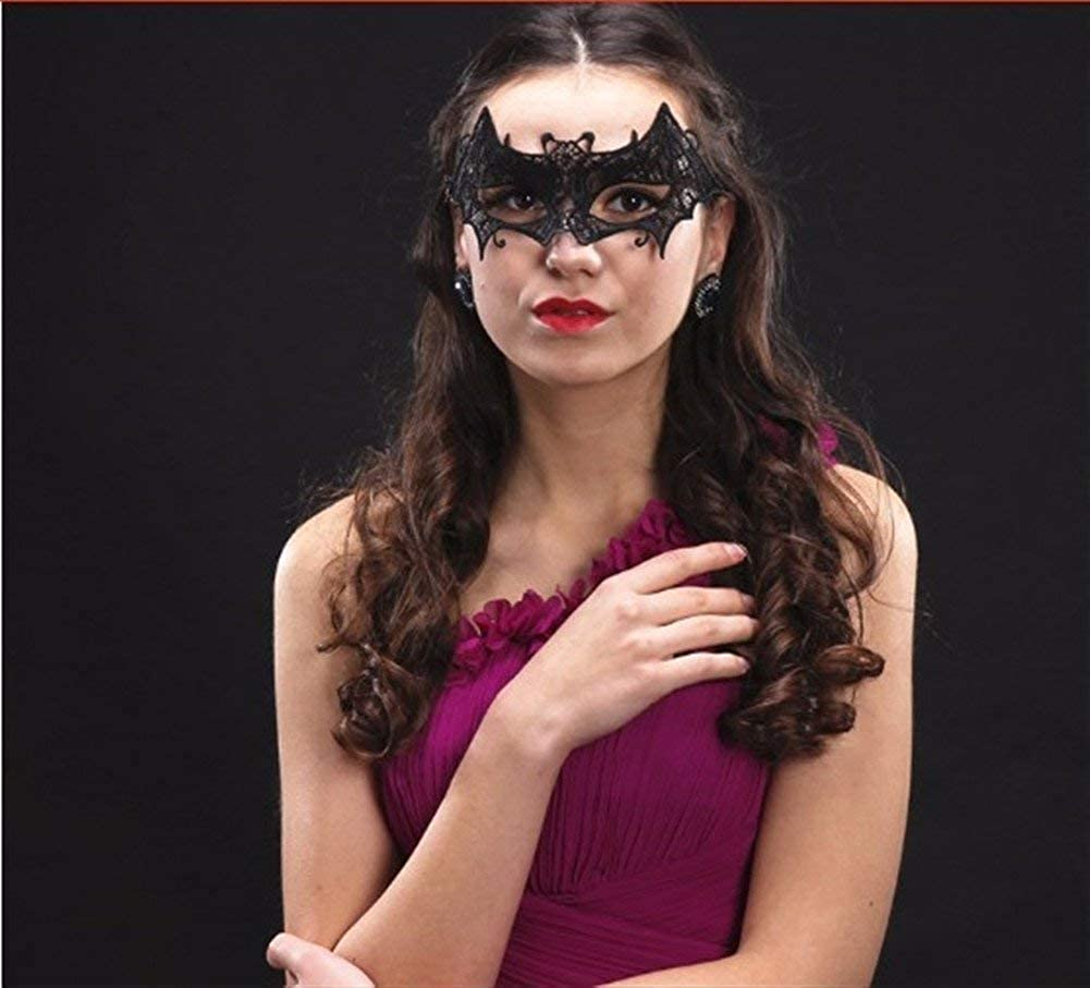 BYETOO Women Masquerade Black Lace Mask,Veil Queen Eye Mask for Halloween Mardi Gras Party