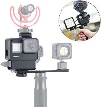 Action Camera Microphone Mount Housing for Adapter with 1//4 Screw Cold Shoe Mount for Light Stand VIJIM Vlogging Mount for DJI Osmo Action//Gopro Hero 7 6 5