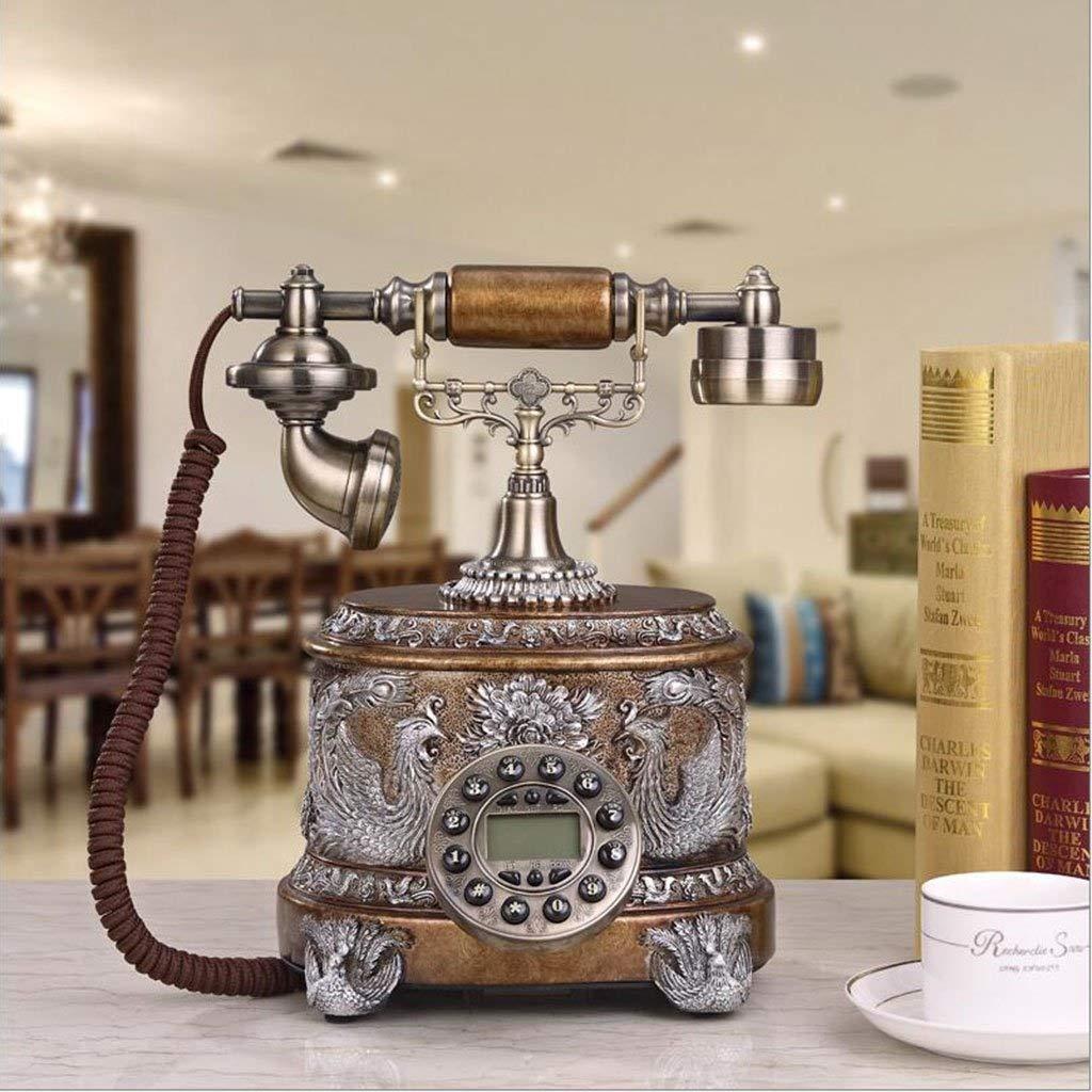 ビンテージアンティークスタイルの電話、レトロな固定電話の家の家の電話、ブラウン   B07TLLRHTM