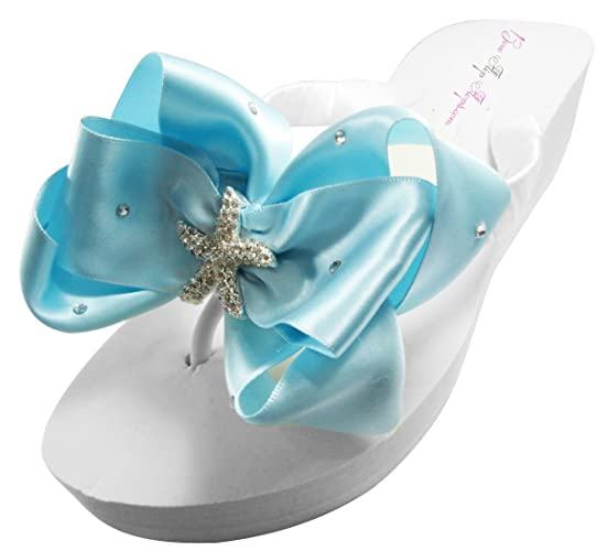 f06f0eaac2f0 Amazon.com  Starfish Swarovski Satin Bow Wedding Flip Flops  Handmade