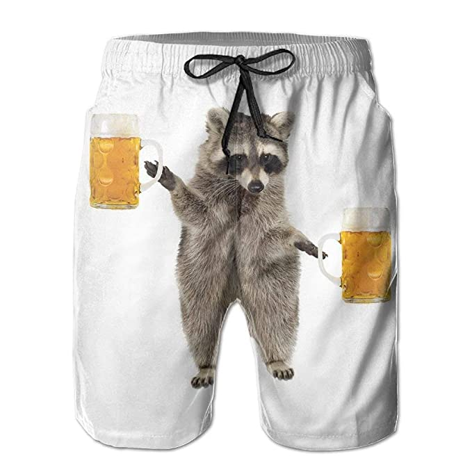 c111073dfb Mens/Men's Funny Raccoon Wite Beer Summer Beach Shorts Casual Pants  Printing Quick Dry Beach